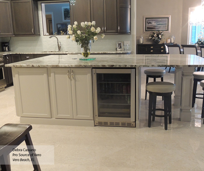 Popular Gray Cabinets with an Off White Kitchen Island - Omega LF11