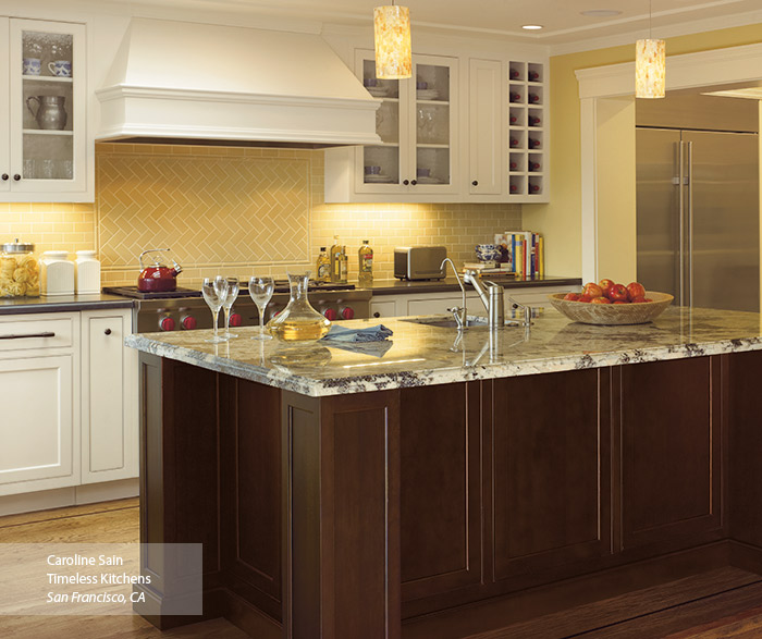 Ultima off white kitchen cabinets in Maple Oyster finish with Cherry Chestnut island