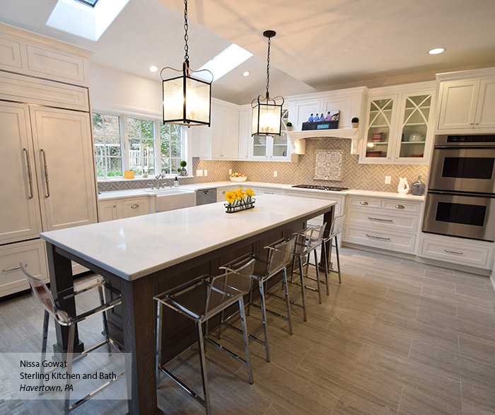 Elemental White inset cabinets with a large Ceruse Gray kitchen island