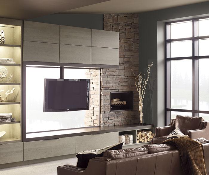 Living Room Island Cabinets: Vail Slab Cabinet Doors