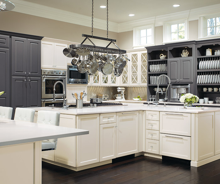 Oyster Grey Kitchen: Gray Cabinets With A Red Kitchen Island