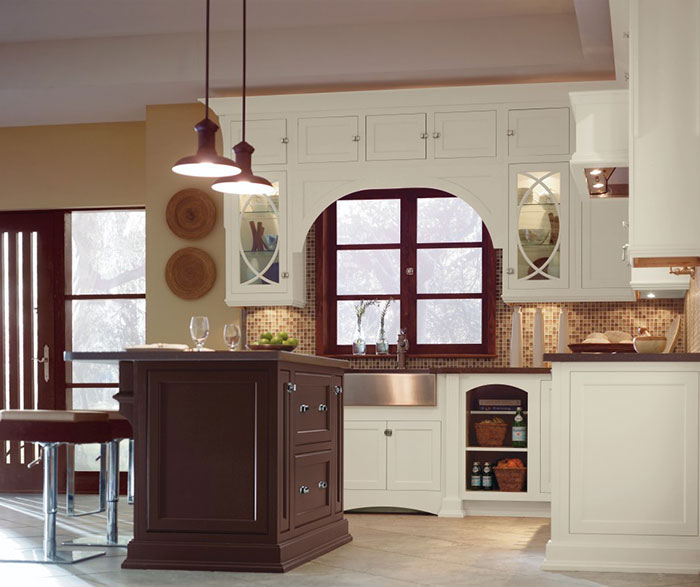 Traditional Inset Maple Kitchen Cabinets Mix Pearl and Custom Paint Color