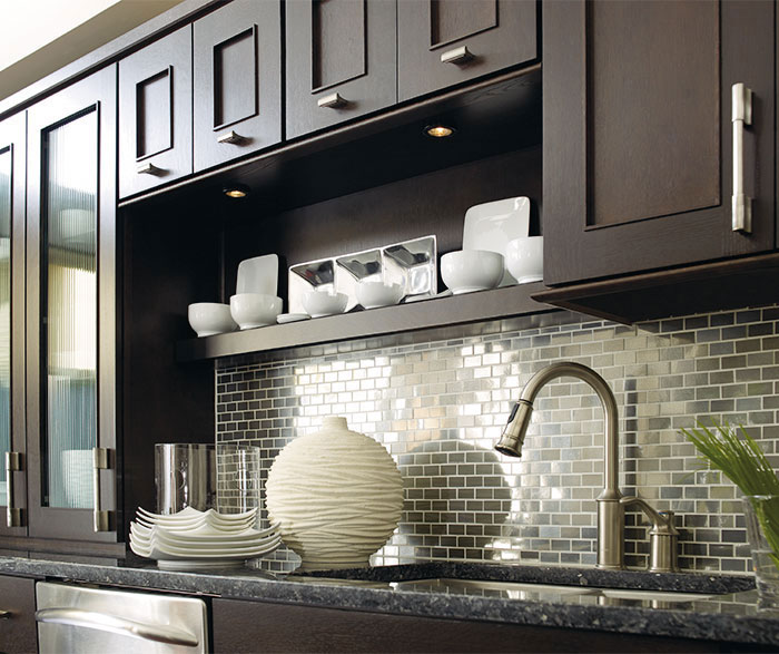 Traditional kitchen styles - Dark Wood Cabinets With A Blue Kitchen Island Omega