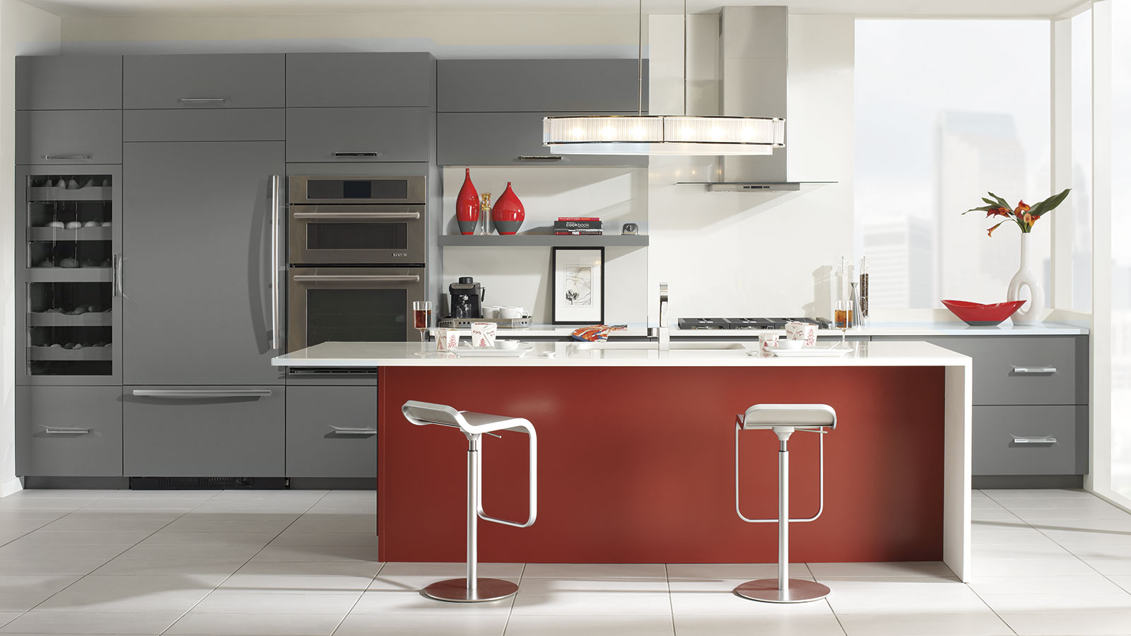 Gray Cabinets With A Red Kitchen Island Omega Cabinetry