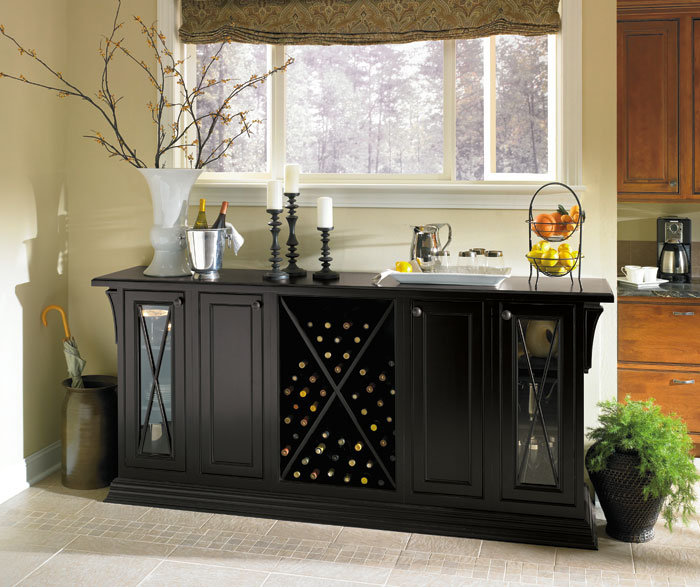 Bancroft black storage cabinet in a dining room