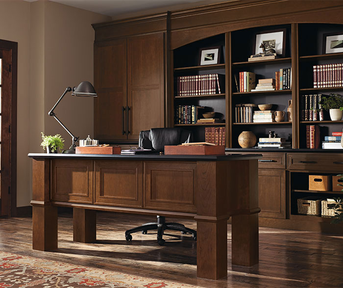 Beckwith Cherry office cabinets in Kodiak finish