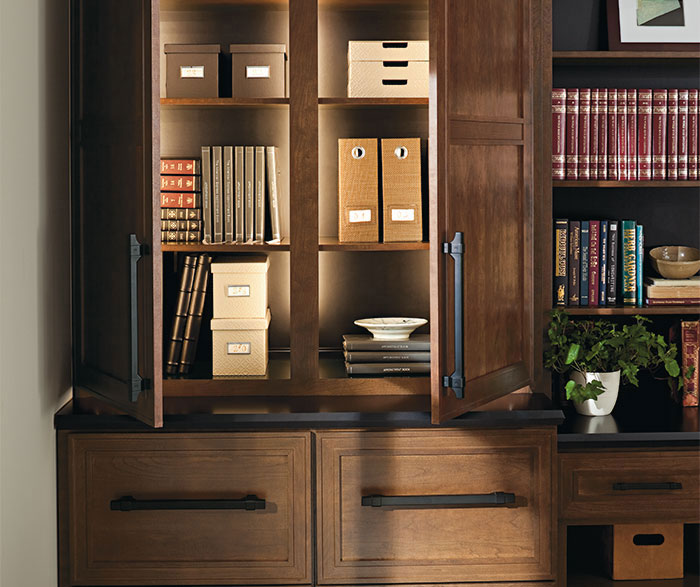 Cherry office cabinets by Dynasty Cabinetry