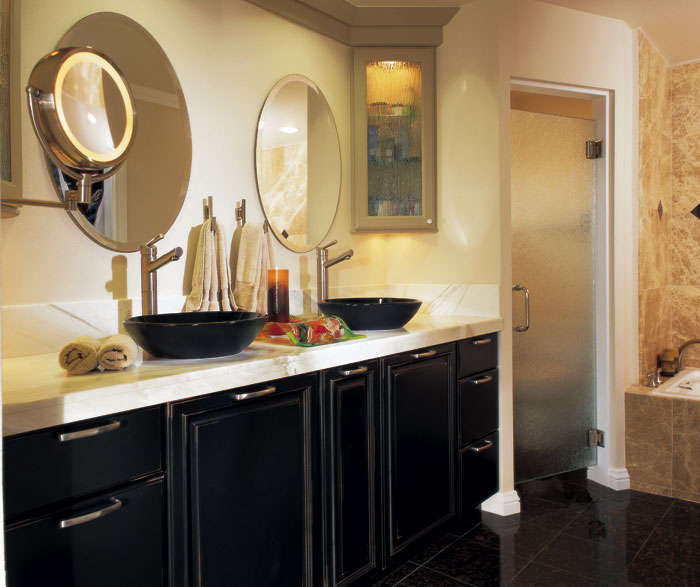 Denison black bathroom cabinets with distressing