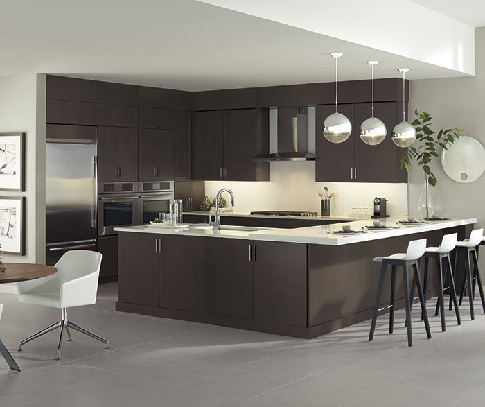 Desoto Wenge kitchen cabinets in Riverbed finish