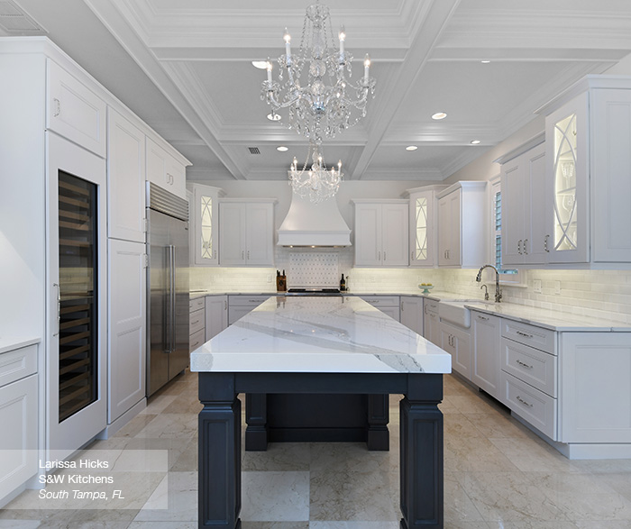 Laroche kitchen cabinets in maple pure white with dark grey island in cherry smokey hills