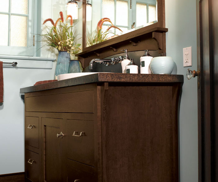Mecca bathroom vanity cabinet in Quartersawn Oak Chestnut finish