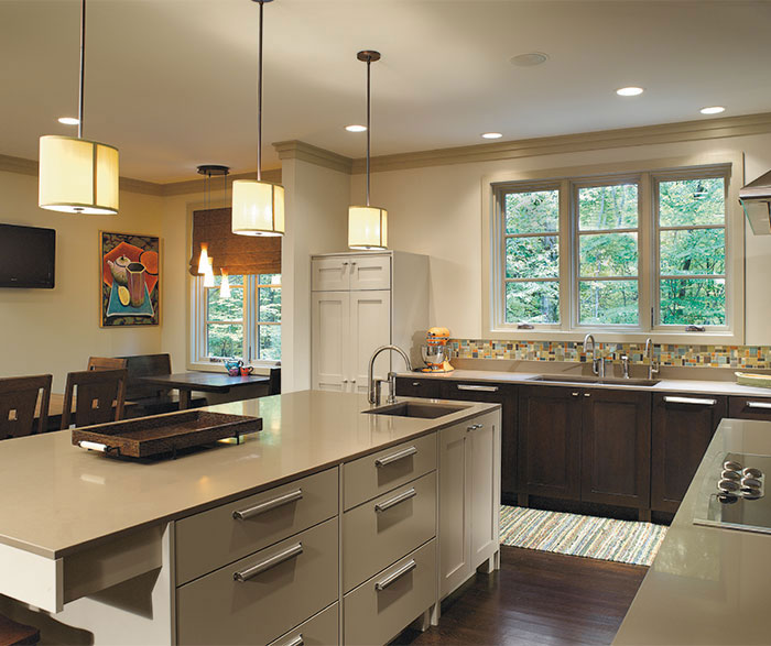 Dark Quartersawn Oak Monterey cabinets with a painted kitchen island