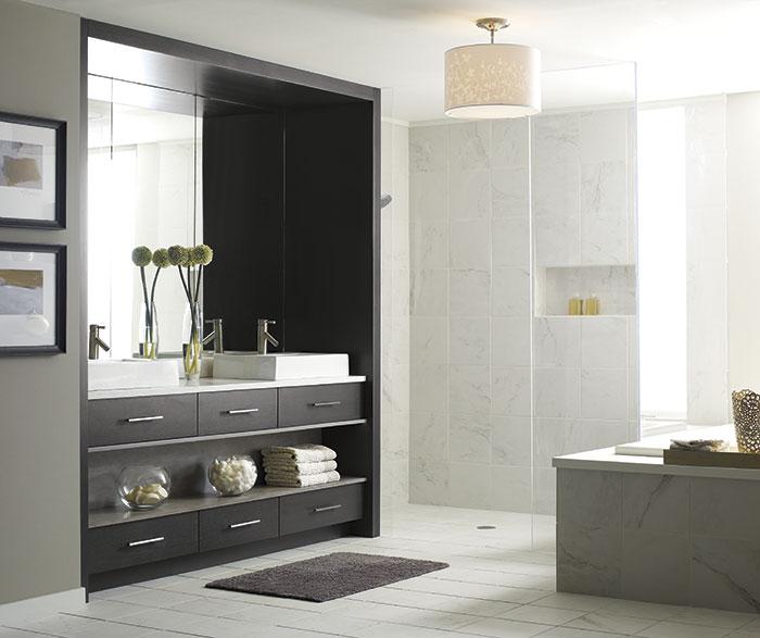 Modern Tarin bathroom vanity in Walnut Smokey Hills finish