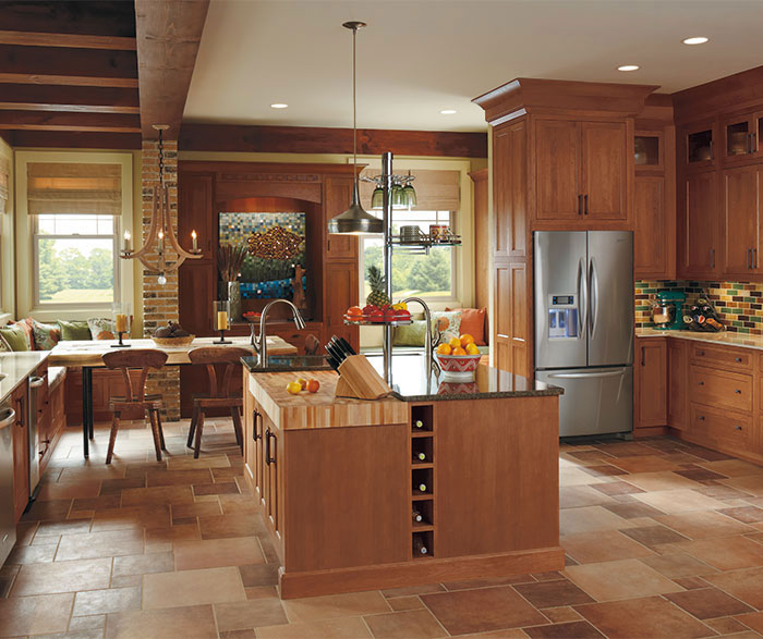 Rustic Ultima kitchen with Cherry wood cabinets in Cinnamon finish