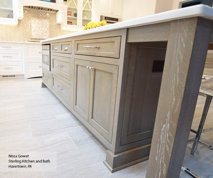 Close-up of large Ceruse Gray kitchen island