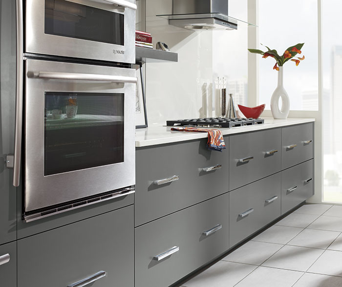 Close-up of Vail Battleship Gray cabinets