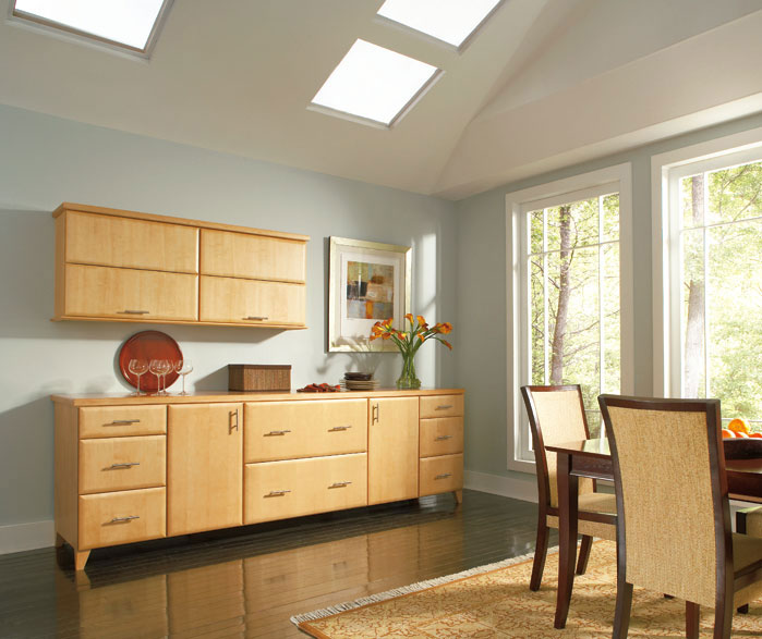 Pennison dining room storage cabinets in Maple Honey finish